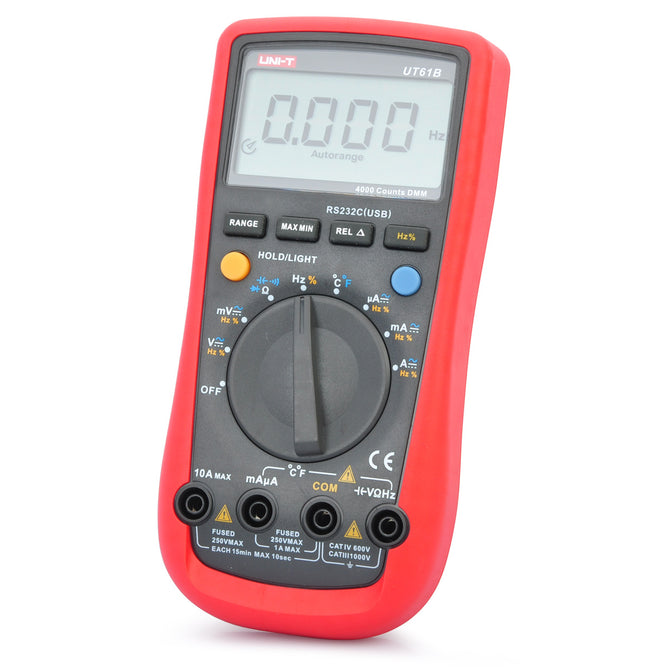 "UNI-T UT61B 2.6"" LCD Digital Multimeter - Red + Grey (1 x 9V)"