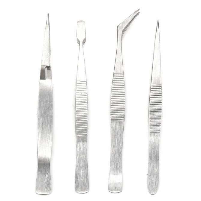 Multifunction Stainless Steel Tweezers Assembling Tools - Silver (4 PCS)
