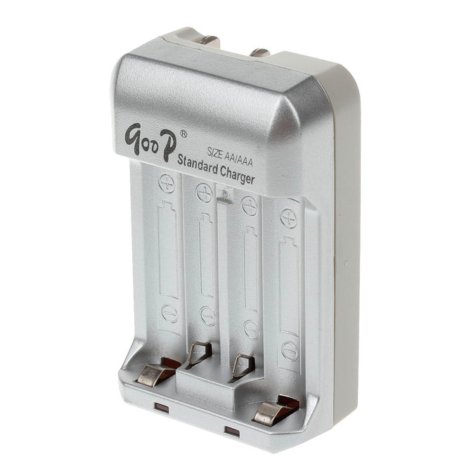 GOOD GD-809B 4 x AA / AAA Battery Charger - Silver + Black (2-Flat-Pin Plug / AC 100~240V)
