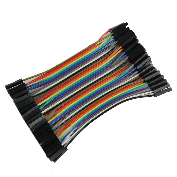 DIY F-F DuPont Breadboard Jumper Wires - Black+Multicolor (40PCS,10cm)