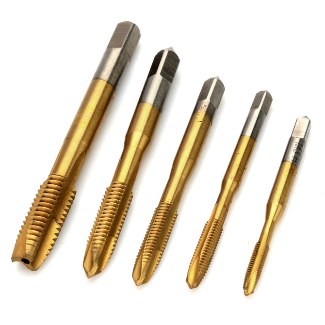 Titanium Coated HSS High-Speed Steel M3~M8 Screw Taps (5PCS)