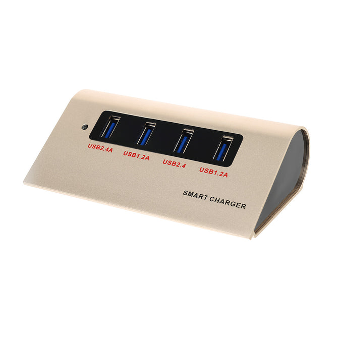 Universal 1.2A/2.4A 4-Port USB Smart Charger Hub - Rose Gold (US Plugs)