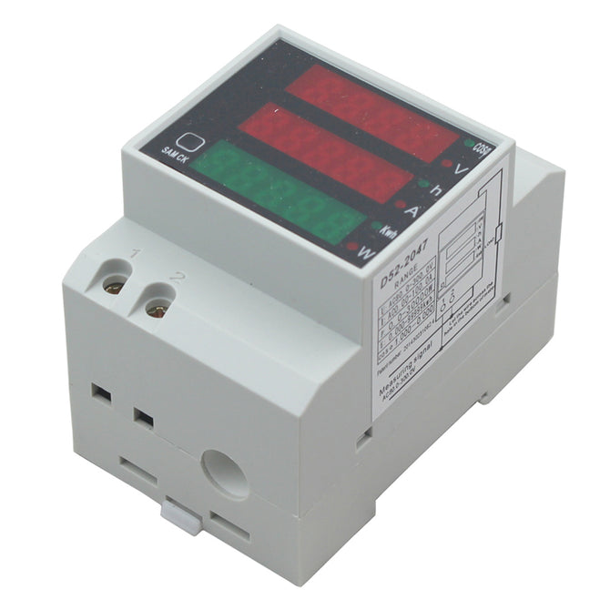 D52-2047 80-300V Digital DIN Rail Current Voltage Power Factor Meter