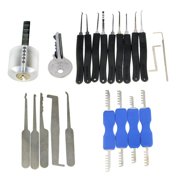 22-in-1 Transparent Practice Lock Picking Tools Set
