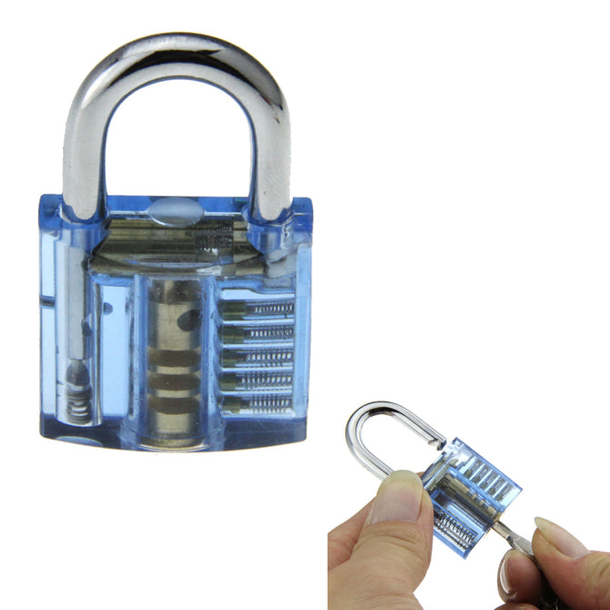 Mini One Slotted Transparent Pratice Padlock - Blue