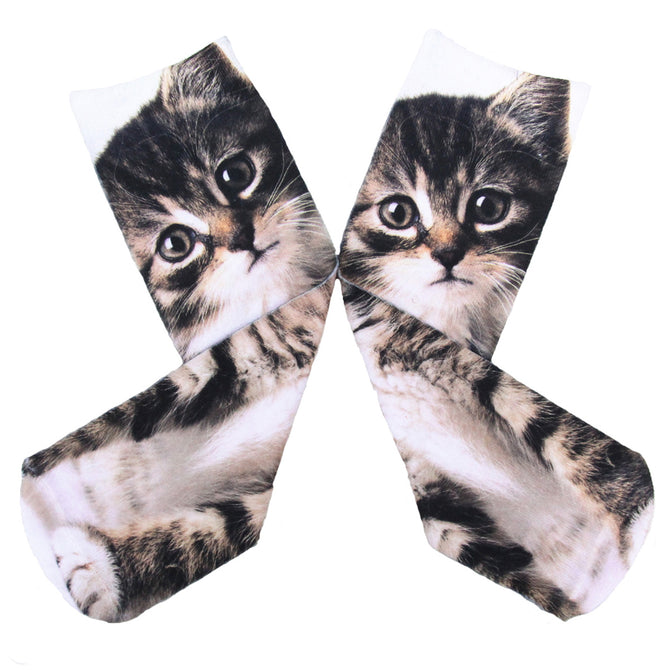 Creative Spoof Cat Printing Cotton Socks - Black + Multicolored (Pair)
