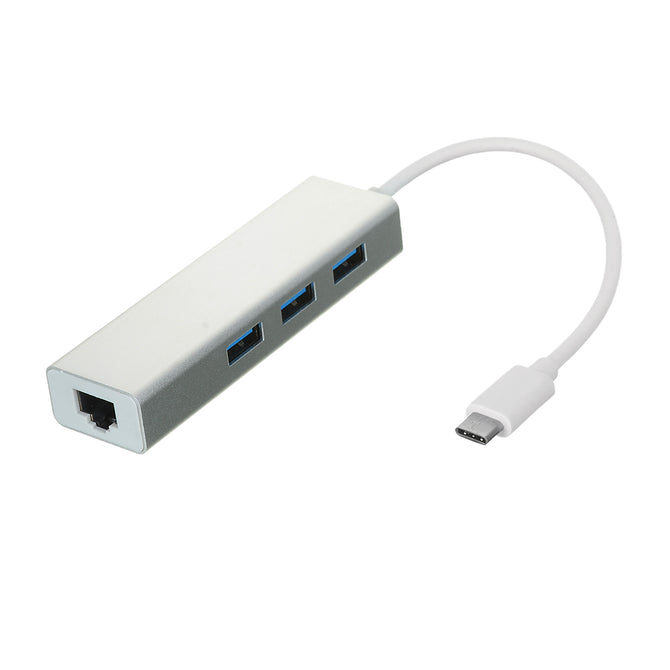 USB 3.1 Type C to RJ45 1000M Network Adapter + USB 3.0 Hub - Silver