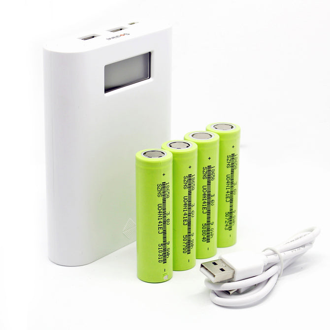 Soshine E3S LCD Mobile 4-Slot 18650 Battery Charger w/ 4 * Batteries