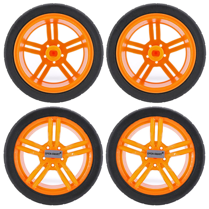 OPEN-SMART 65mm Smart Car Model Wearable Rubber Wheel for TT Motor - Black + Yellow (4 PCS)