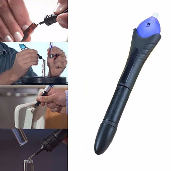 Portable 5 Second Fix UV Light Repair Tool with Glue, Super Powered Liquid Plastic Welding Compound Tool Kit