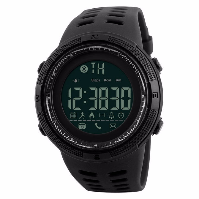 SKMEI 1250 Multi-Functional Men's Smart Watch, Chrono Sports Digital Wristwatch with Calories Pedometer, Reminder - Black