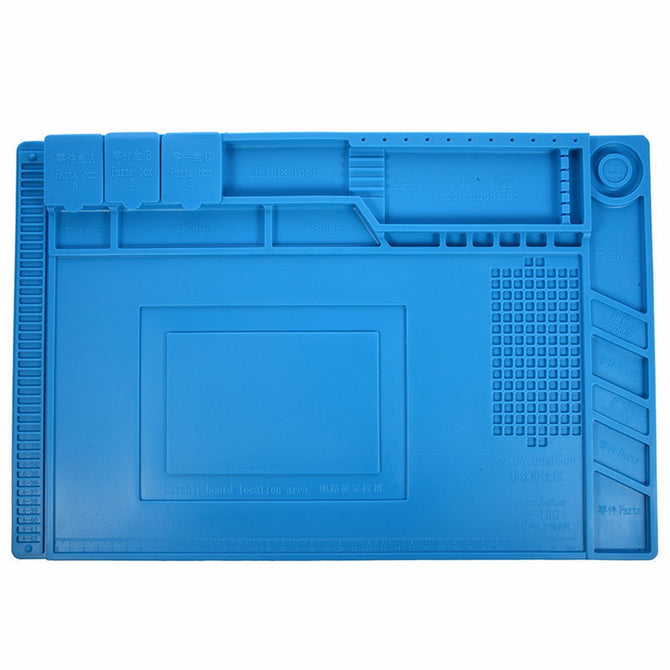 S-160 45x30cm Heat Insulation Silicone Pad Desk Mat Maintenance Platform with Magnetic Section for BGA Soldering Repair Station blue