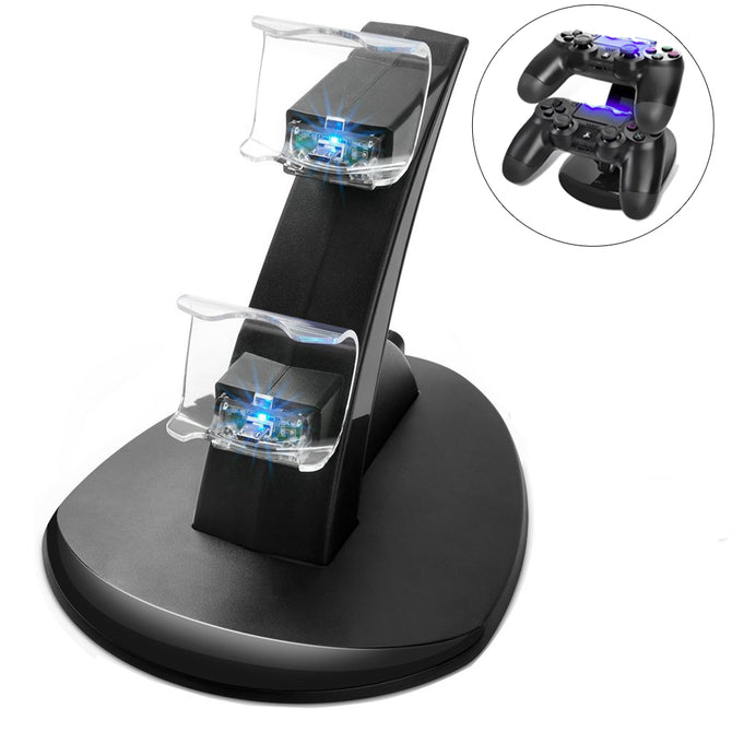 Kitbon Dual USB Charging Docking Station Stand for Playstation 4 - Black