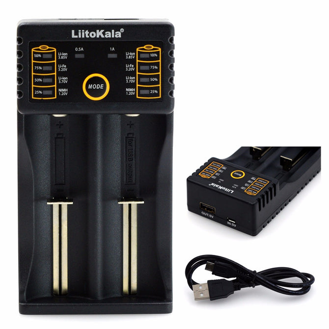 Liitokala Lii-202 18650 Charger AA AAA 1.2V 3.7V 3.2V 3.85V 26650 10440 14500 16340 25500 Nimh Lithium Battery Smart Charger USB cable/Black