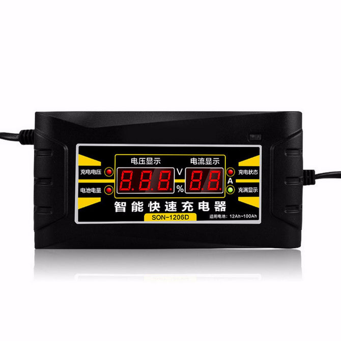 Choifoo 12V 6A Electric Automatic Pulse Repair Type Smart Fast Car Motorcycle Battery Charger with LED Display EU