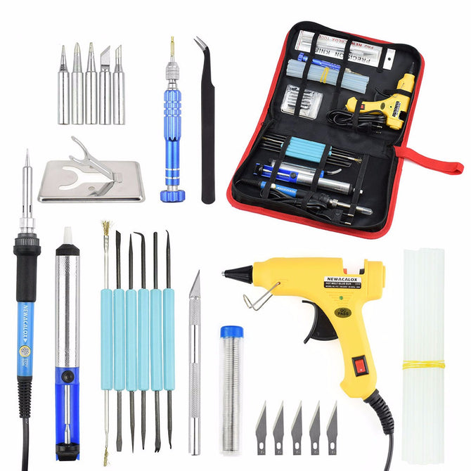 NEWACALOX DIY EU 220V 60W Adjustable Temperature Electric Soldering Iron Welding Kit Screwdriver Glue Gun Repair Carving Knife yellow