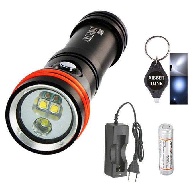 ARCHON D15VP White Red CREE LED 1300 Lumens 110 / 30 Degree 100m Diving Flashlight Video Spot Light with Battery + Charger