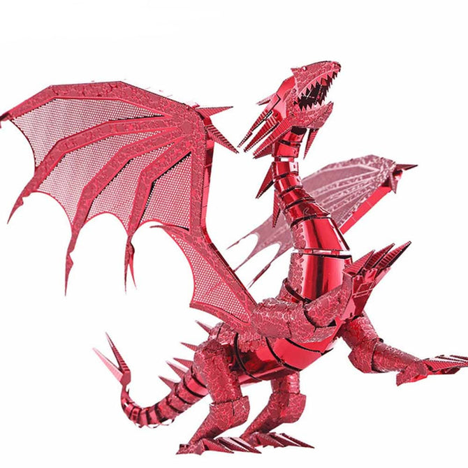 ZHAOYAO Cool Flame Dragon Style 3D Creative Metal Handmade DIY Assembly Puzzles Model Toy - Red