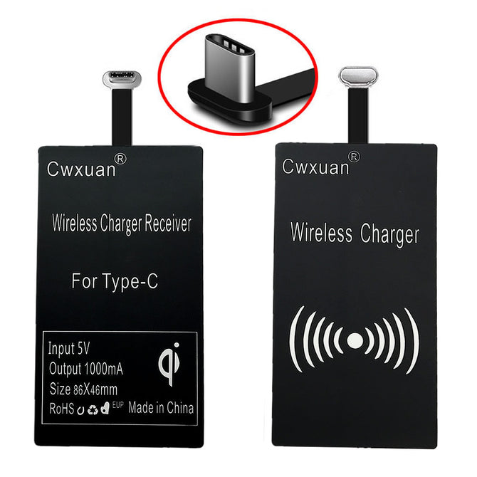 USB 3.1 Type-C QI Wireless Charging Receiver Adapter for Type-C Connector Mobile Phone