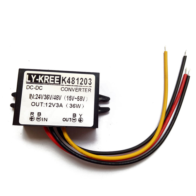 LY-KREE DC-DC 24V/36V/48(15V~58V) To 12V 3A 36W Buck Module Car Power Converter