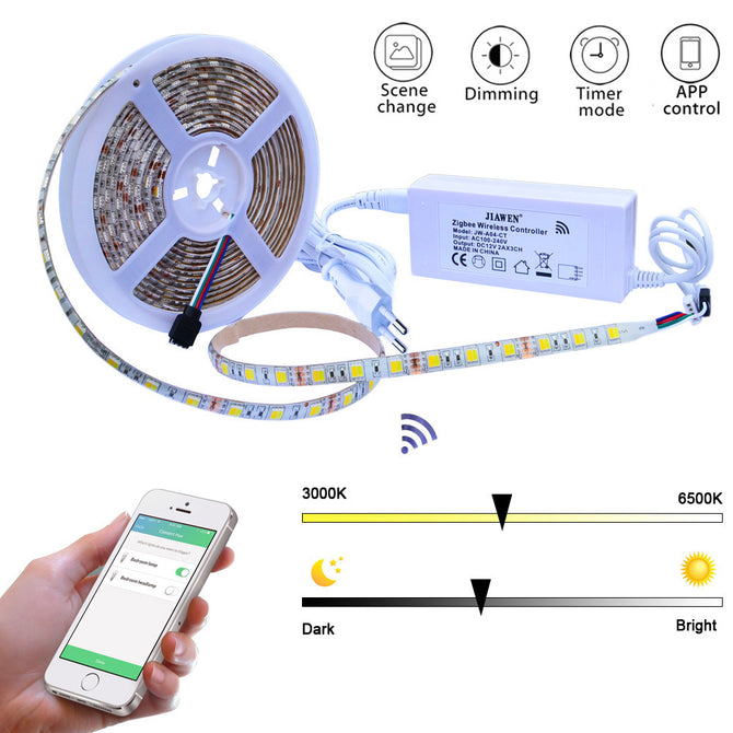 Jiawen Smart Home 300-LED 5050SMD LED Color Temperature Light Strip w/ EU Plug Zigbee Controller