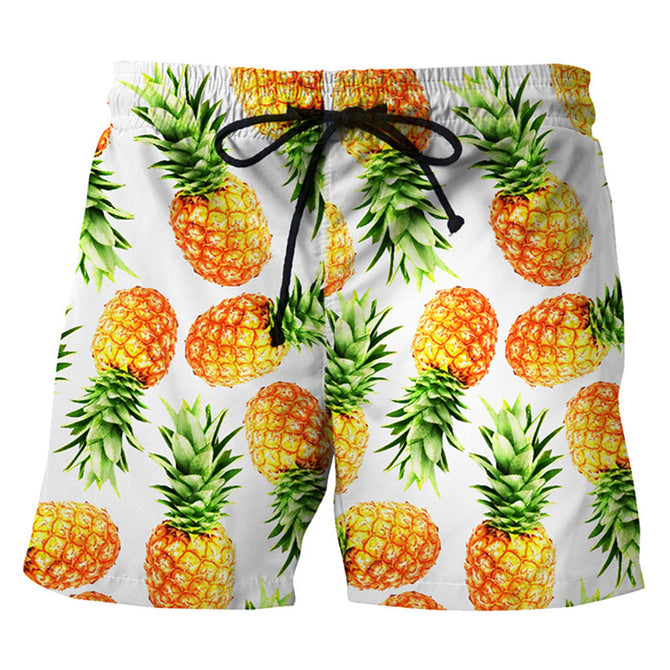 Men's Pineapple Printed Casual Cotton Beach Short Pants Shorts (L)