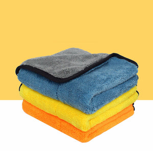 Auto Care 2PCS 45cmx38cm Super Thick Plush Microfiber Car Cleaning Cloth Car Care Microfibre Wax Polishing Towels Yellow/Coral Fleece