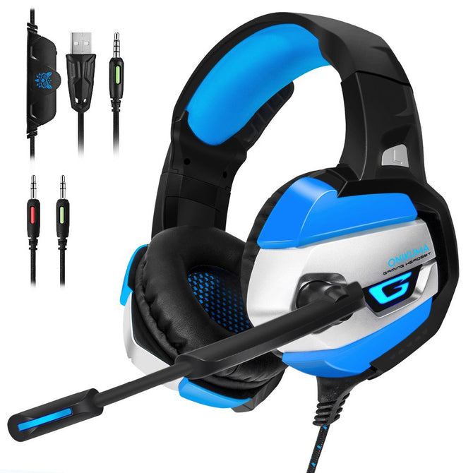 Gaming Headphones Deep Bass Stereo Game Headset With Microphone LED Light Wired Earphone For Laptop Computer PC PS4 Xbox Blue