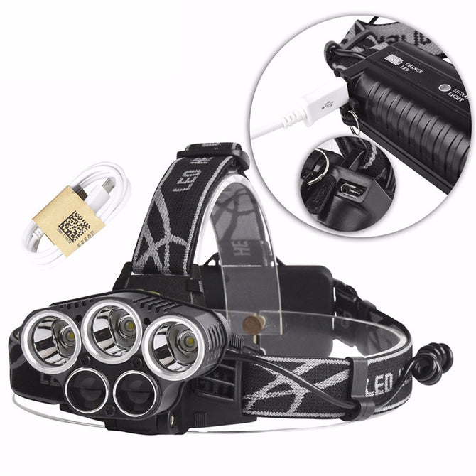 Portable T6 5-LED Super Bright USB Rechargeable Fishing Riding Headlamp Head Light For Outdoors White/Black