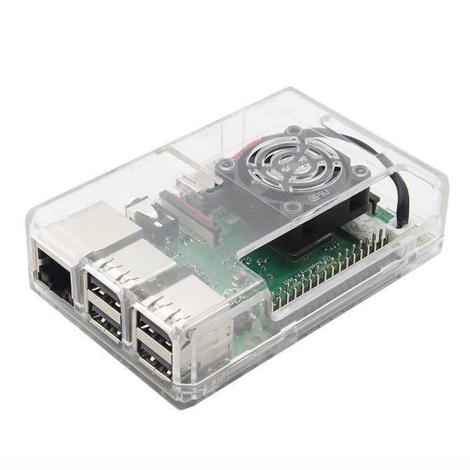 Geekworm Transparent ABS Case / Enclosure with Fan Hole For Raspberry Pi 3 Model B+ / 3B / 2B - Transparent