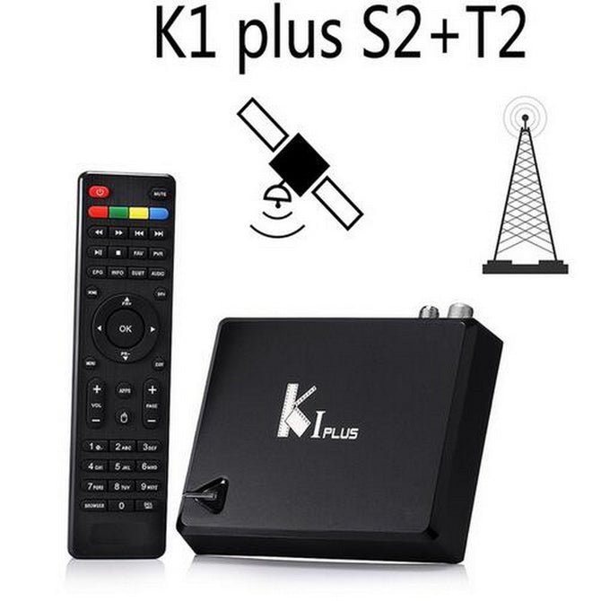 KI Plus T2 S2 Smart Android 5.1 TV Box, Amlogic S905 Quad-Core 64-Bit 1GB/8GB Wi-Fi Set Top Box, Support DVB-T2 DVB-S2 AU Plug/Black