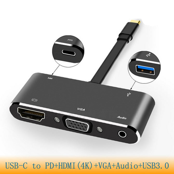 USB Type C to 4K HDMI VGA HD USB 3.0 Hub Cable Adapter Charger for Macbook Pro