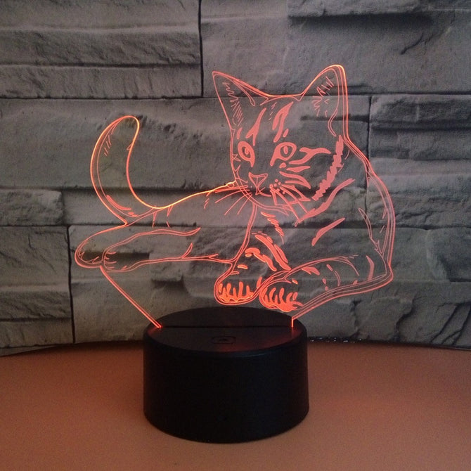 3D Cat Night Lights Animal Lamp 7 Color Touch Table Lamp 3D Illusion For Gifts Toys LED Night Light Changeable/Clear/0-5W