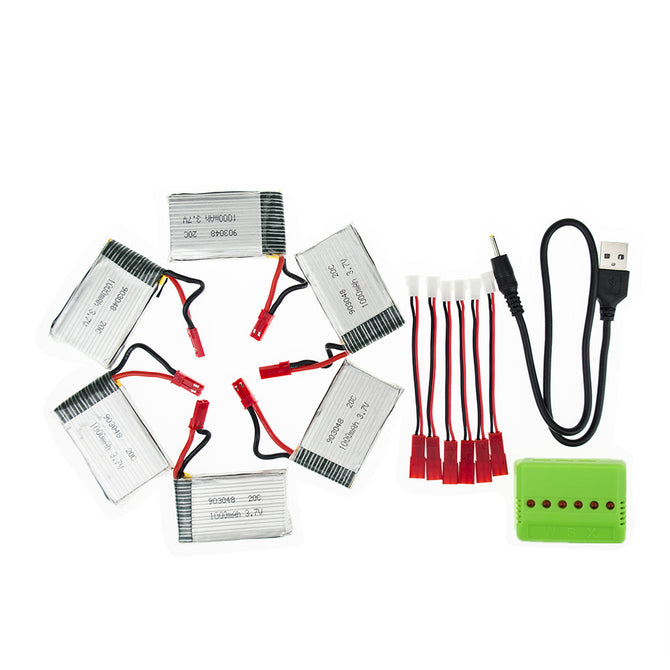 5Pcs 3.7V 1000mAh RC Li-po Batteries with 6 in 1 Charger and Charging Cable for Hubsan H107 SYMA X5C JJRC H8 mini