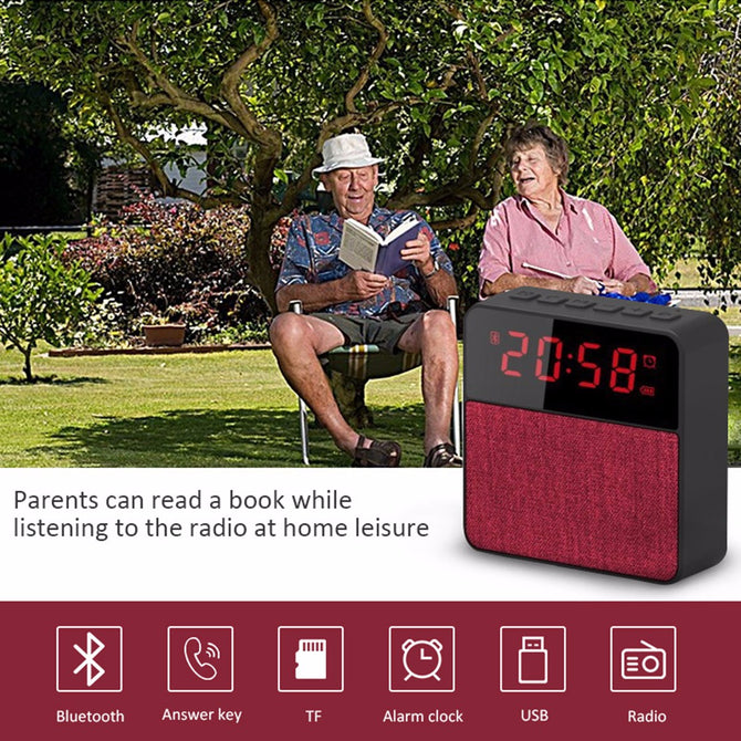 Clock Speaker Bluetooth Wireless Column TF Card Udisk FM Radio Portable Bluetooth Speakers Gray/Speaker