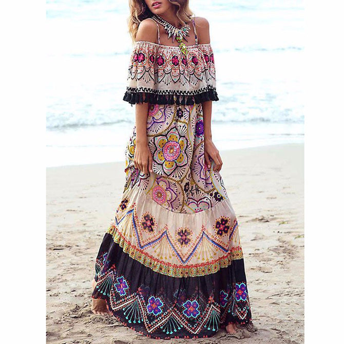Stylish Bohemia Off-the-shoulder Maxi Dress Sexy Boat Neck Beach Dress For Women Multi/XL