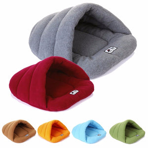 6 Colors Soft Fleece Winter Warm Pet Dog Bed Small Dog Cat Sleeping Bag Puppy Cave Bed Blue/XS