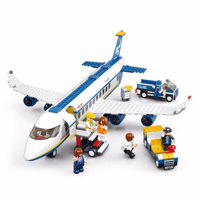 Building Blocks City Airplane Series DIY Air Bus Aircraft Airport Assembled Bricks Classic Educational Toys For Children White