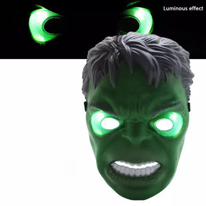 LED Glowing Super Hero Mask The Avengers Spiderman Captain America Iron Man Hulk Batman Party Cosplay Halloween Mask Toy Red