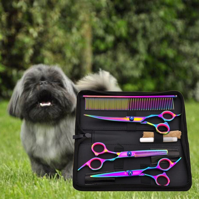 Pet Hair Cut Colorful Scissors Clippers Flat Tooth Cut Pets Beauty Tools Set Kit Dogs Grooming Hair Cutting Scissor Set Multi