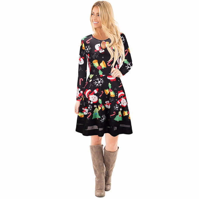 Merry Christmas 3D Printed Long Sleeve Dresses Womens Santa Skater Deer Floral Print Snowman Swing For Women Dress Black/XL
