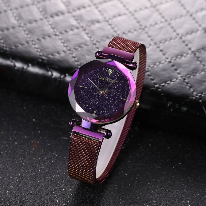 CAGARNY 6877 Fashion Women's Quartz Watch with Stainless Steel Woven Mesh Strap - Purple