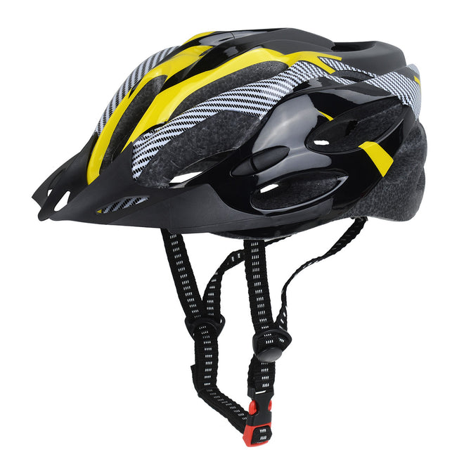 21-Hole Adjustable Lightweight Carbon Fiber Bicycle Cycling Helmet for Men, Women - Black Yellow