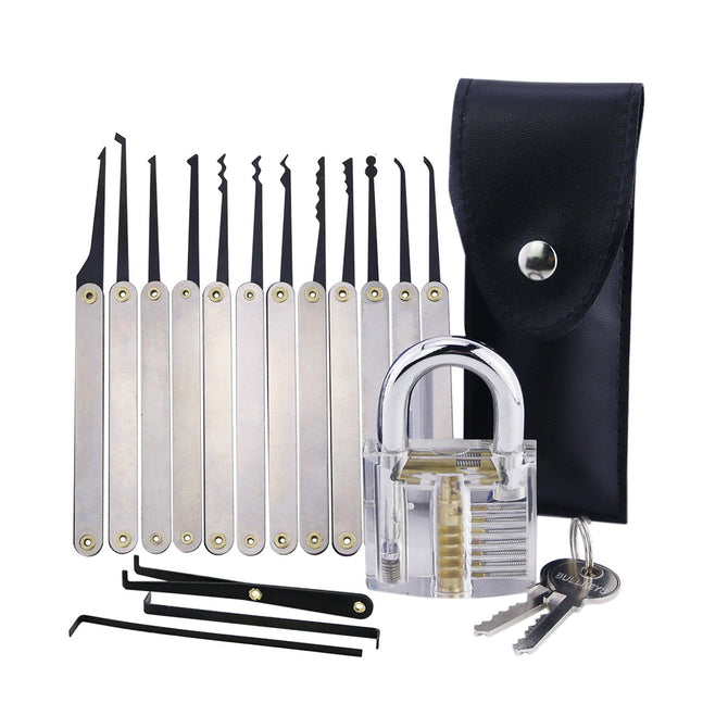 HakkaDeal Transparent Padlock + Stainless Steel Handle 12-Piece Needles, Practice Lock Set