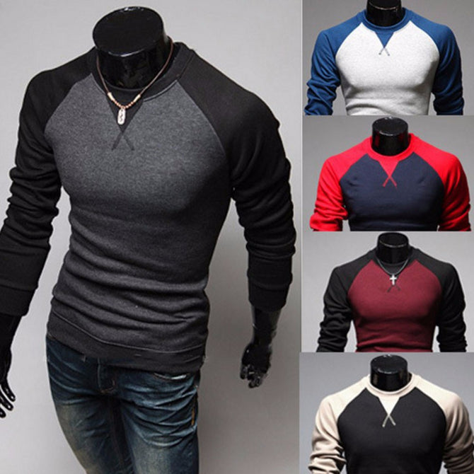 Patchwork Color Round Neck Long Sleeve Pullover Men\'s T-Shirt, Casual Color Stitching Male Tee Top Black/XXL