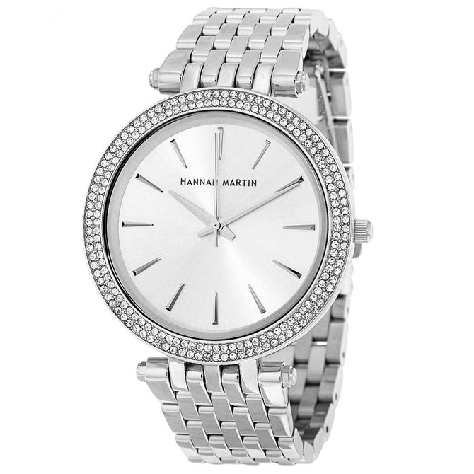 Hannah Martin 1185 Luxury Diamond Women's Quartz Watch w/ Gold Plated Stainless Steel Strap - Silver