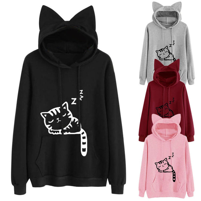 Womens Cat Ear Solid Long Sleeve Hoodie Sweatshirt Hooded Pullover Tops Blouse Solid Color Cat Print Ear Hooded Sweater Pink/M