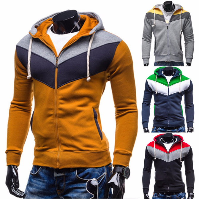 Fashion Contrast Color Zipper Mens Hooded Sweatshirt Casual Slim Fit Hoodie With Pockets For Men Camel/XL