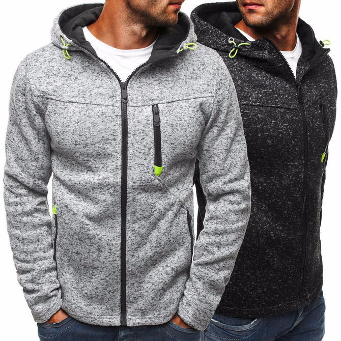 Fashion Zipper Mens Fleece Hooded Sweatshirt Casual Slim Fit Hoodie Jacket With Pockets For Men Black/L