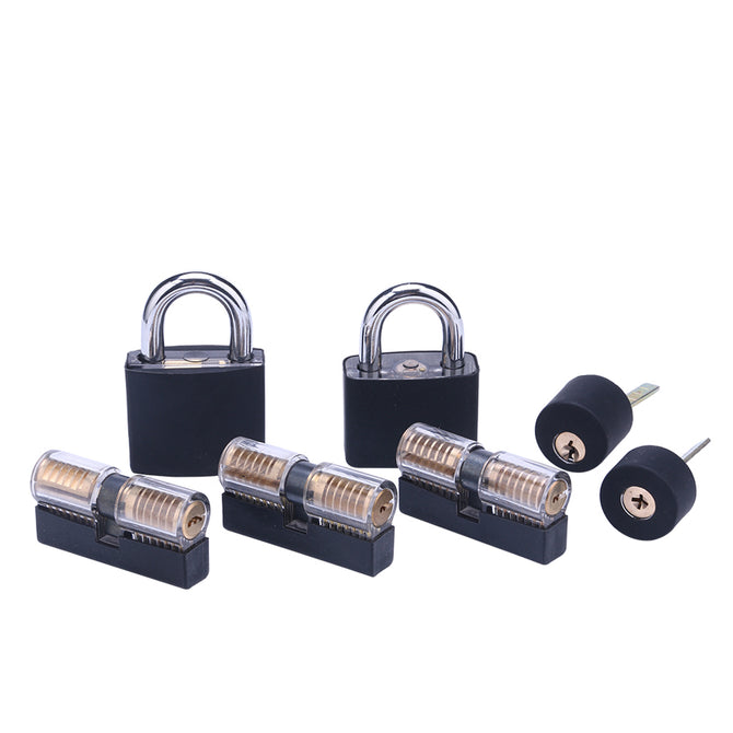 Lockmall 7-Piece Transparent Practice Lock Set (With Silicone Sleeve)